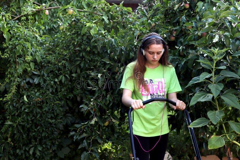 Tonåring som mejar gräsmatta som omges av äppleträdet arkivfoto
