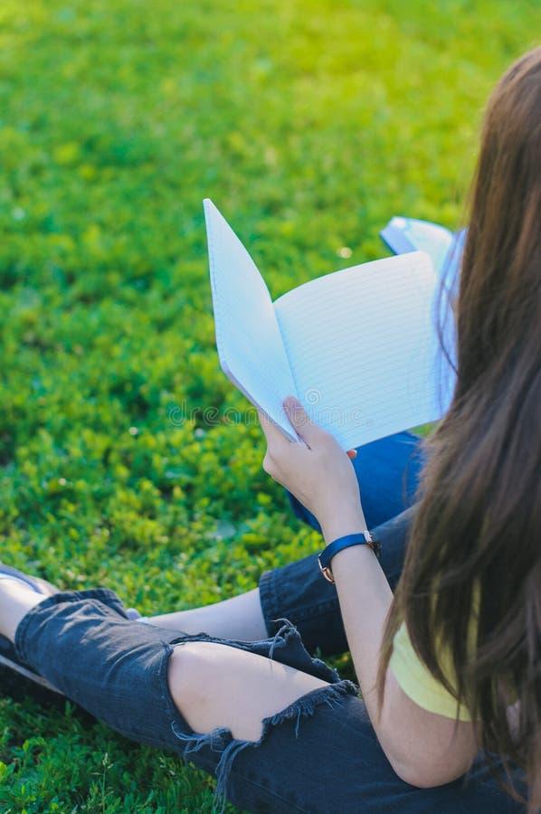 Tonåring som ser anteckningsboken Studera utomhus royaltyfri fotografi