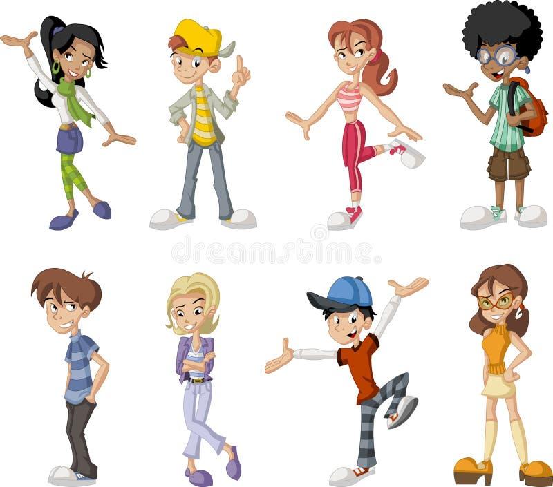 Tonåringar. vektor illustrationer