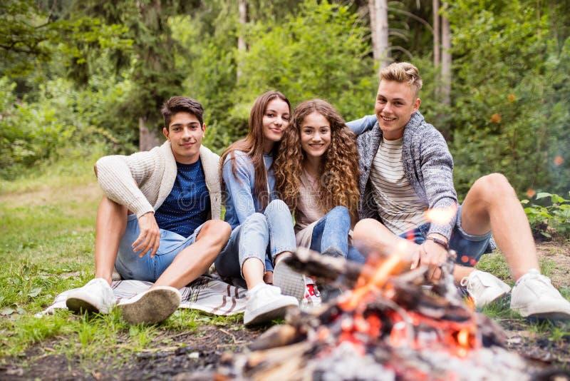 Tonåringar som campar i naturen som sitter på brasan royaltyfri foto