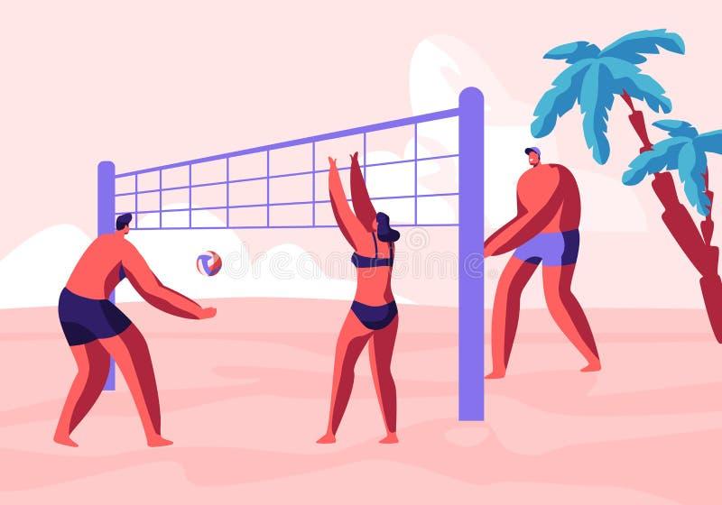 Tonåringar Team Playing Beach Volleyball på kust vektor illustrationer