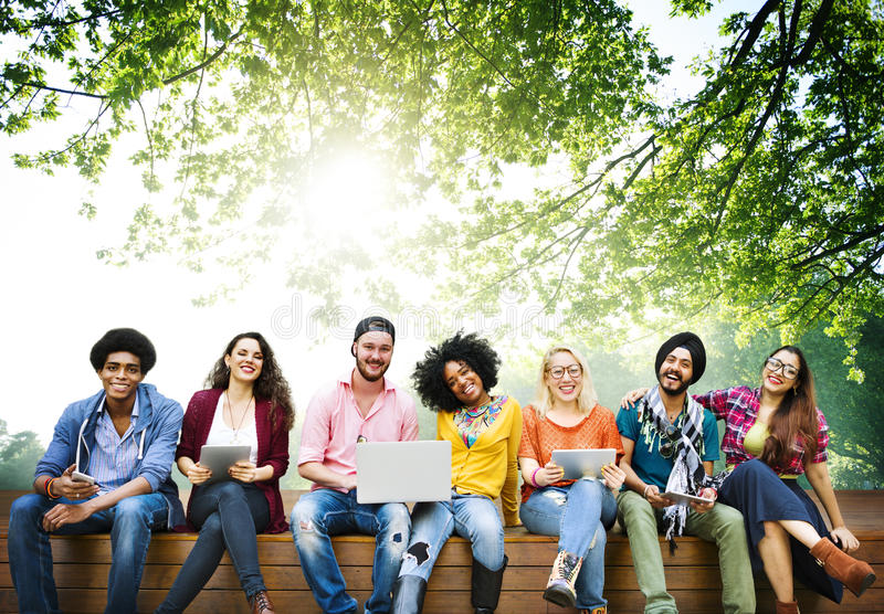 Tonåringbarn Team Together Cheerful Concept royaltyfria foton