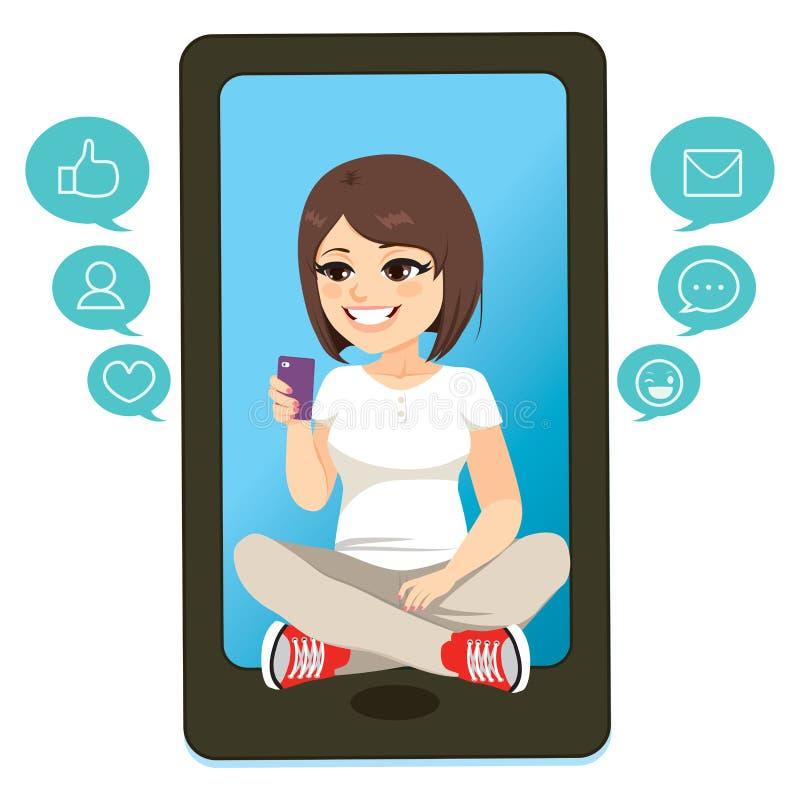 Tonåringflicka Smartphone stock illustrationer