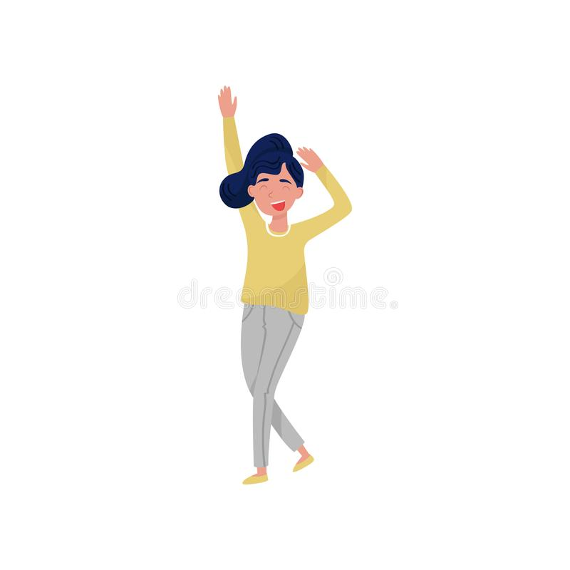 Tonåringflicka som har gyckel på partiet Ung kvinnlig student i danshandling aktiv livsstil Isolerad plan vektordesign stock illustrationer