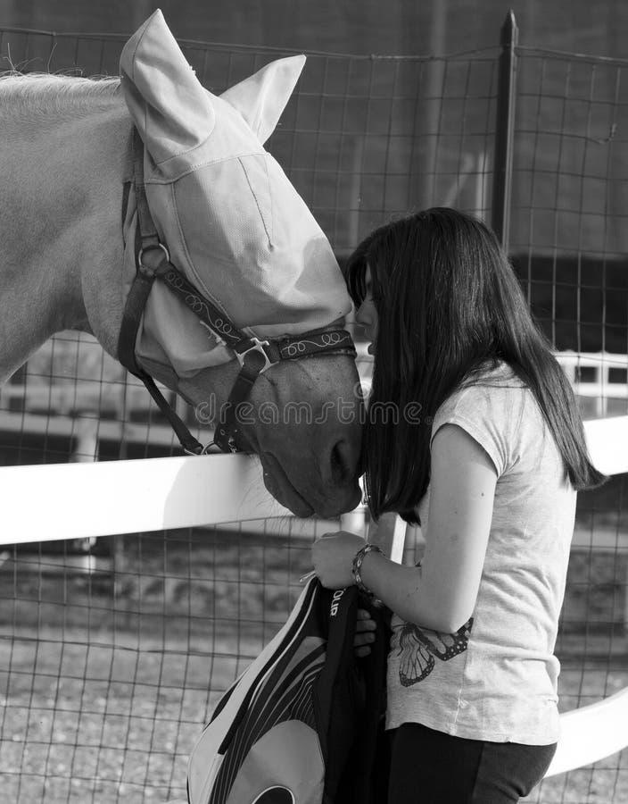 Tonåringflicka som playfully här kysser hästen royaltyfri foto