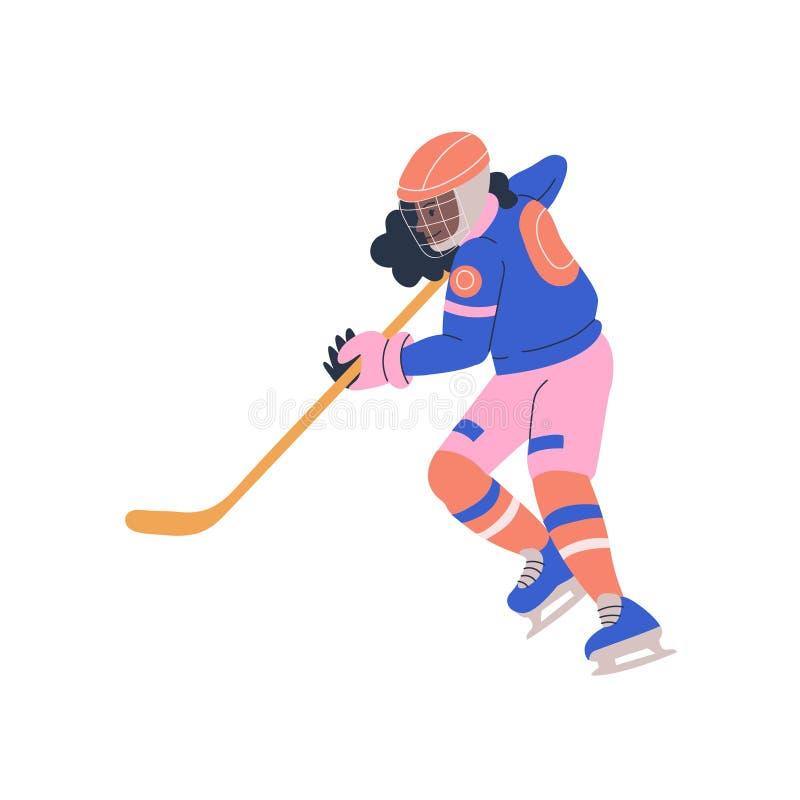 Tonåringflicka som spelar ishockeyleken royaltyfri illustrationer