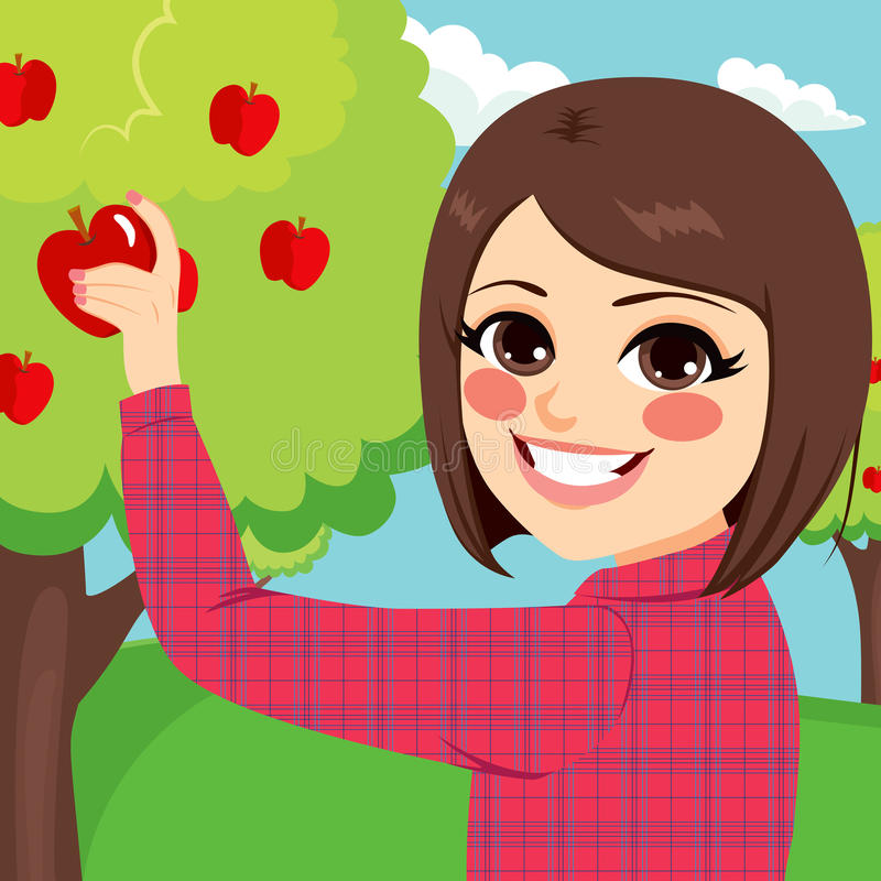 Tonåringflicka som väljer Apple vektor illustrationer