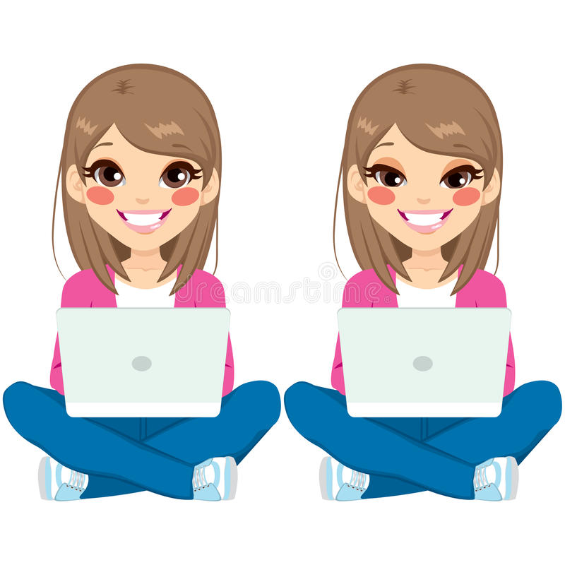 Tonåringflickasammanträde med bärbara datorn royaltyfri illustrationer