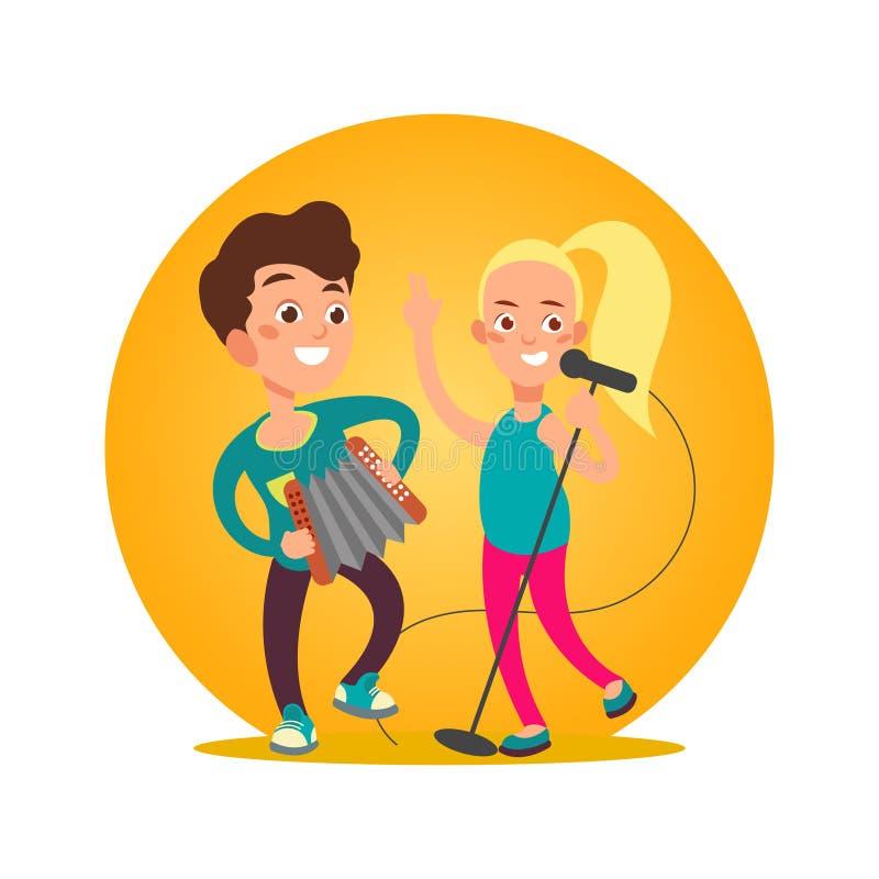 Tonåringmusikergrupp Flicka och pojke royaltyfri illustrationer