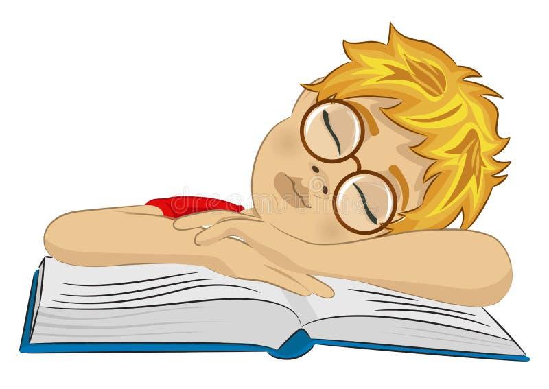 Tonåringpojke med exponeringsglas som är stupade sovande på hans bok stock illustrationer
