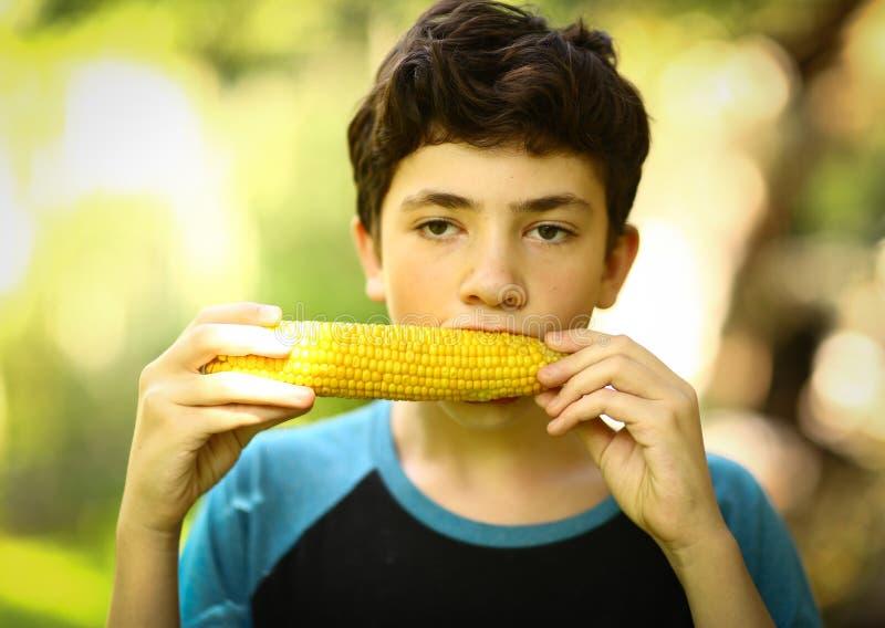 Tonåringpojke som äter kokt slut för havremajskolv upp fotoet royaltyfria bilder
