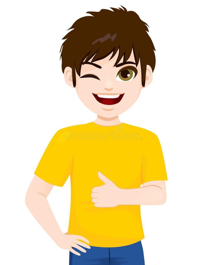 Tonåringpojke som blinkar upp tummen vektor illustrationer