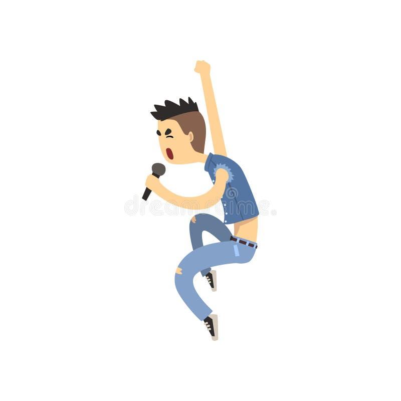 Tonåringsångareallsång i mikrofon Vokalisten av vaggar eller metallmusikbandet Rolig grabb i grov bomullstvillväst och flåsanden  stock illustrationer