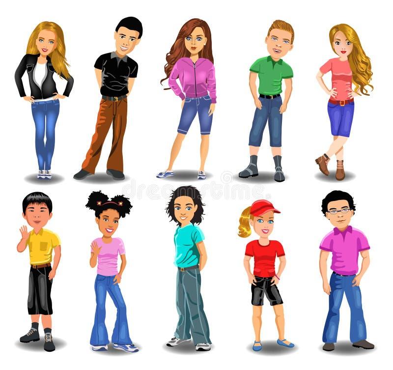 Tonåringsamling vektor illustrationer