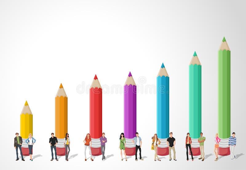 Tonåringstudenter framme av det kulöra blyertspennadiagrammet royaltyfri illustrationer