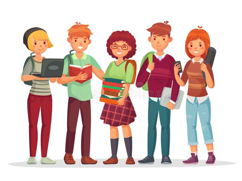 Tonåringstudentgrupp Unga vänner för student för hög skola för tonår som tillsammans lär Tonåring med skolaryggsäckvektorn vektor illustrationer