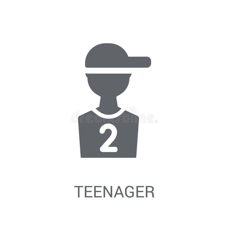 tonåringsymbol Moderiktigt tonåringlogobegrepp på vit bakgrund royaltyfri illustrationer