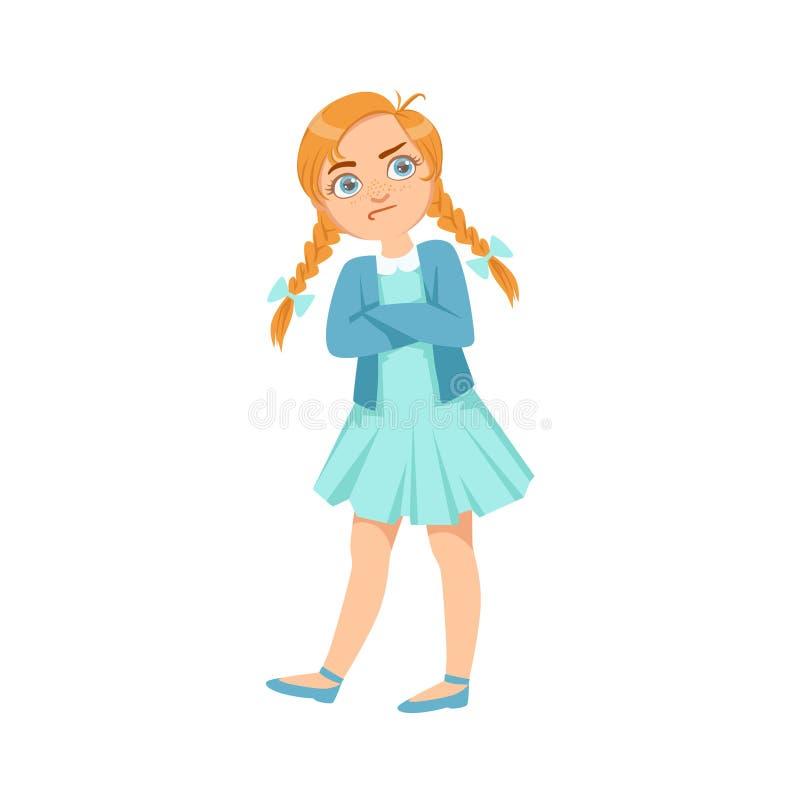 Tonårs- översittare för envis flicka som visar den busiga obetvingliga tecknad filmillustrationen för brottsligt uppförande vektor illustrationer