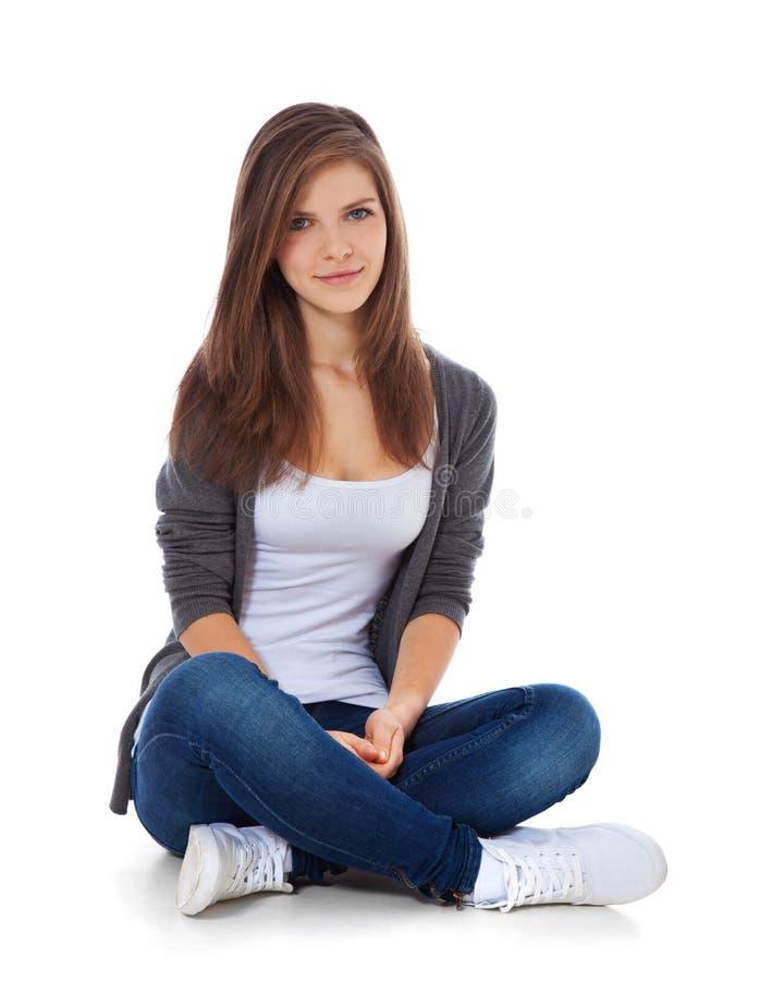 tonårs- attraktiv flicka fotografering för bildbyråer