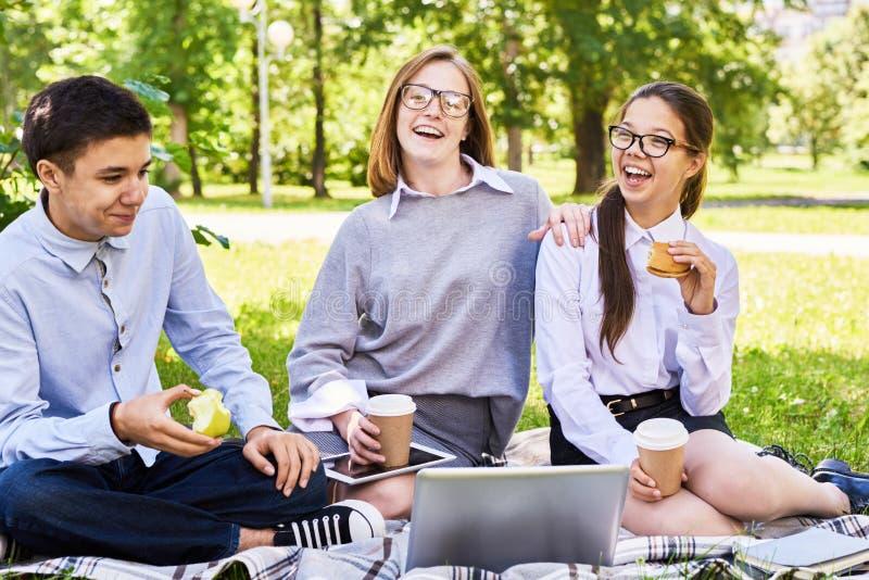 Tonårs- barn som tycker om picknicken arkivfoto
