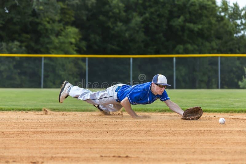 Tonårs- basebollspelare arkivfoto