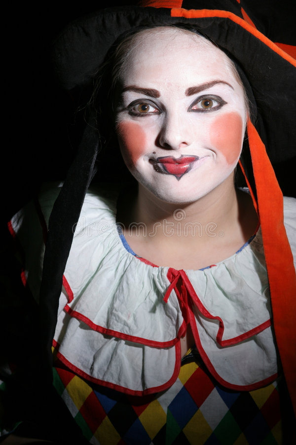 tonårs- clownkvinnlig royaltyfri bild