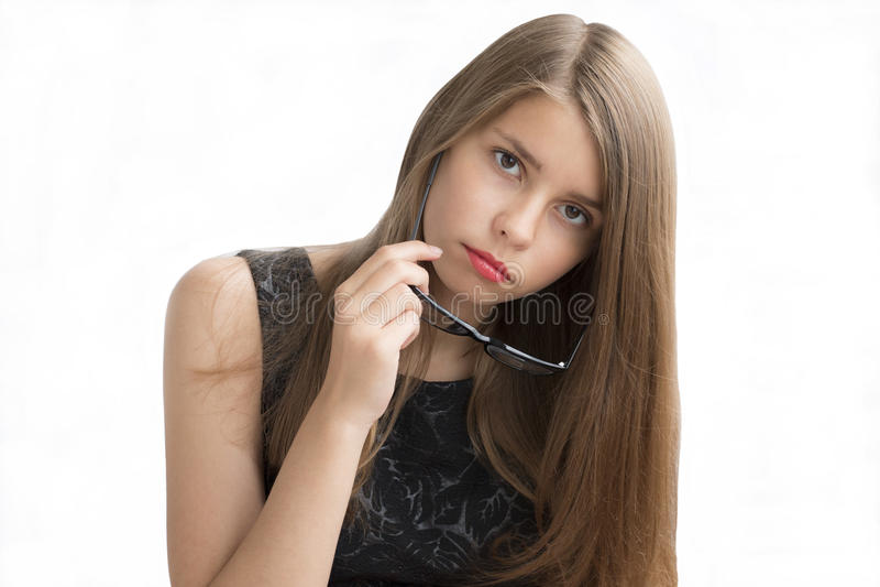 Tonårs- flicka med exponeringsglas royaltyfri foto