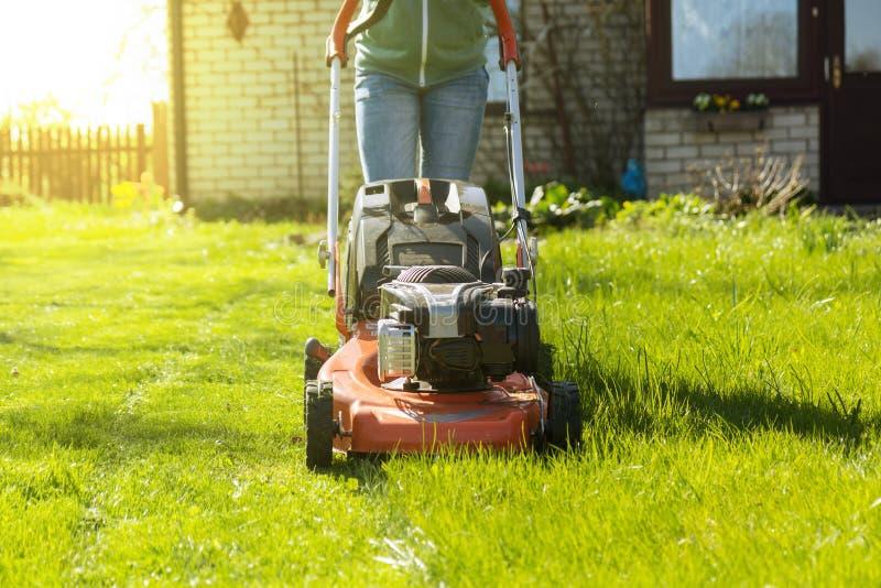 Tonårs- flicka som mejar gräs royaltyfri bild