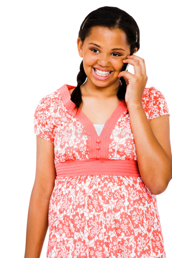 tonårs- flickamobilsamtal royaltyfria foton