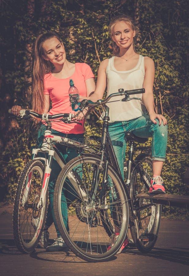 Tonårs- flickor med cykeln i en parkera på solig dag arkivfoto