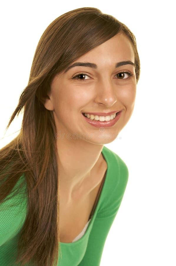 tonårs- härlig brunett arkivbild