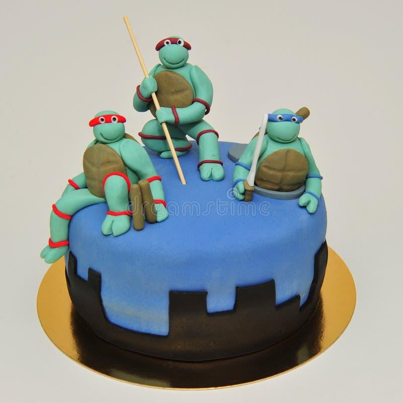 Tonårs- Ninja Mutant Turtles kaka royaltyfri foto