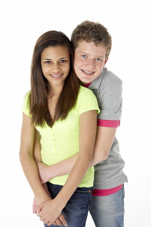 tonårs- parstudio royaltyfri fotografi