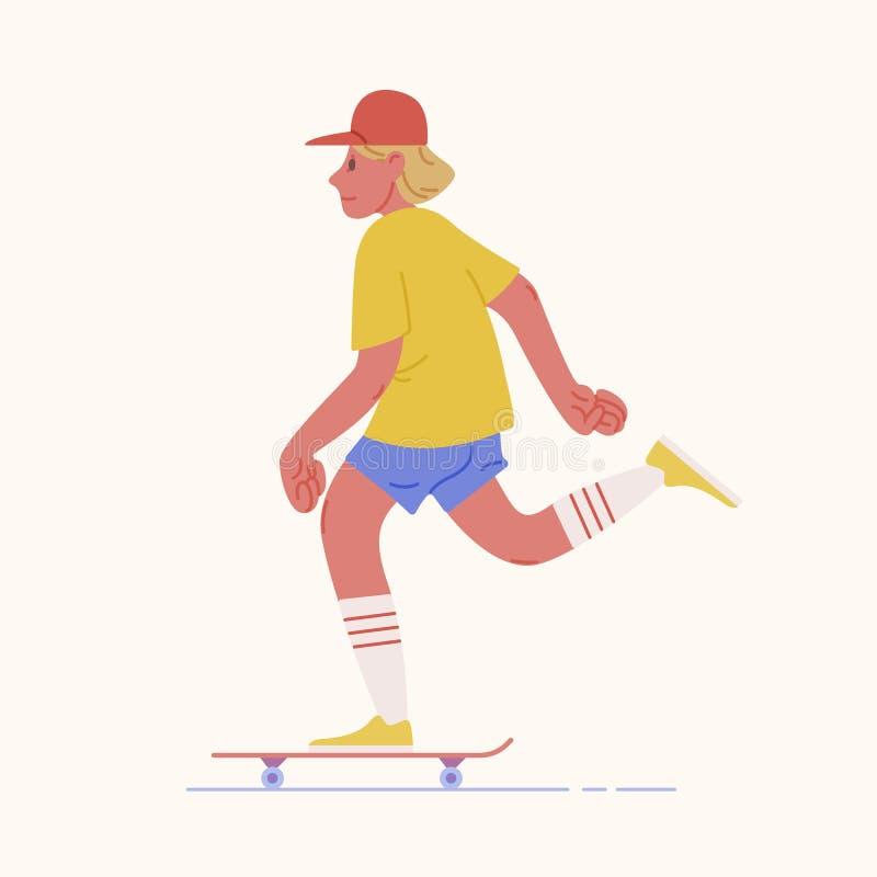 Tonårs- pojke för skateboradåkare eller skateboarderridningskateboard Ung man med lock- eller kidultskateboarding Manligt tecknad vektor illustrationer