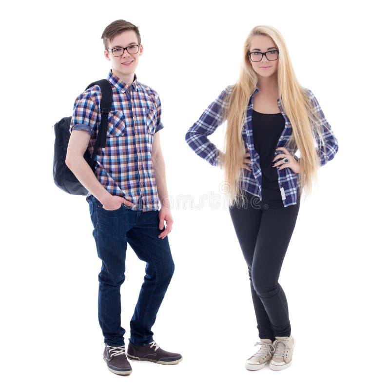 Tonårs- pojke och flicka i glasögon som isoleras på vit royaltyfri bild