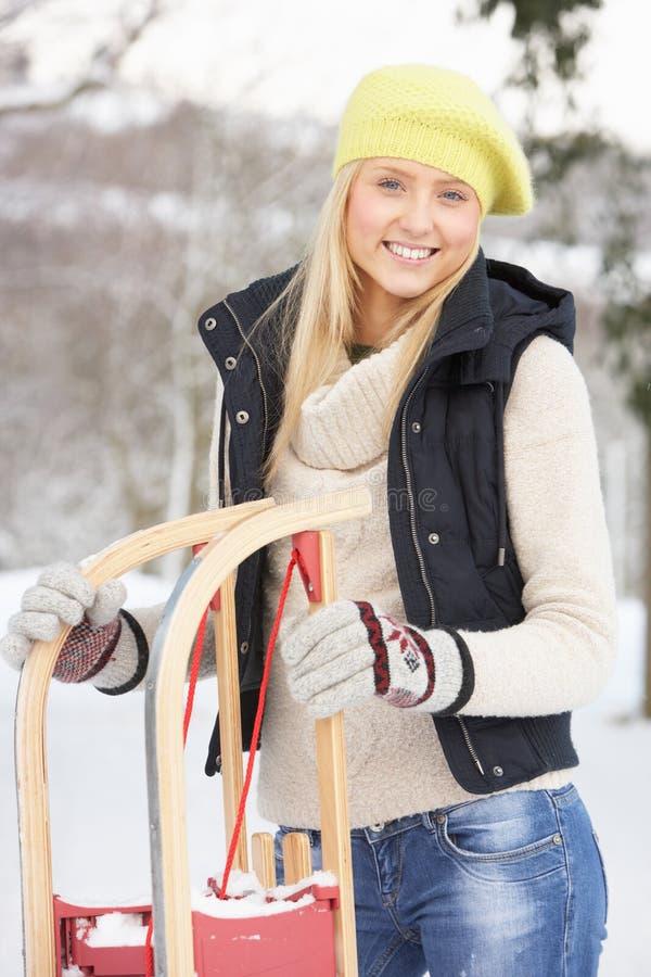 tonårs- snow för flickaholdingpulka royaltyfria foton