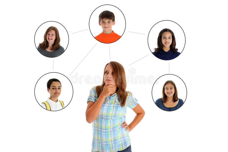 tonårs- tänka för flicka arkivfoton