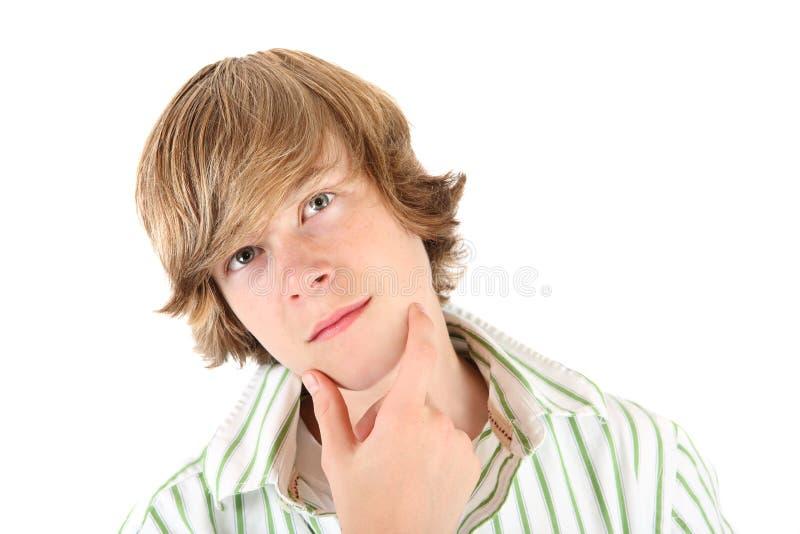 tonårs- tänka för pojke royaltyfria foton