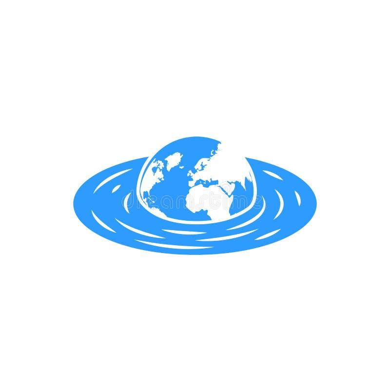 Tonąć planety ziemię z kontynentu pojęciem dla plakatowego globalnego ocieplenia powodzi zmiana klimatu globalnego emblemata ilustracja wektor