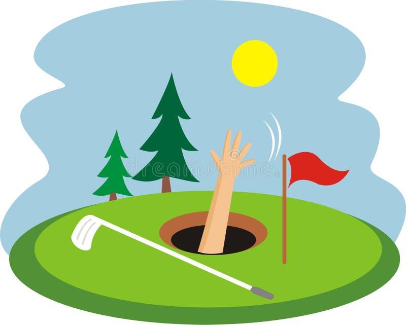 Tonący w golfowej dziurze ilustracja wektor