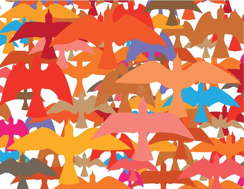 Ton av fågelvektorn stock illustrationer