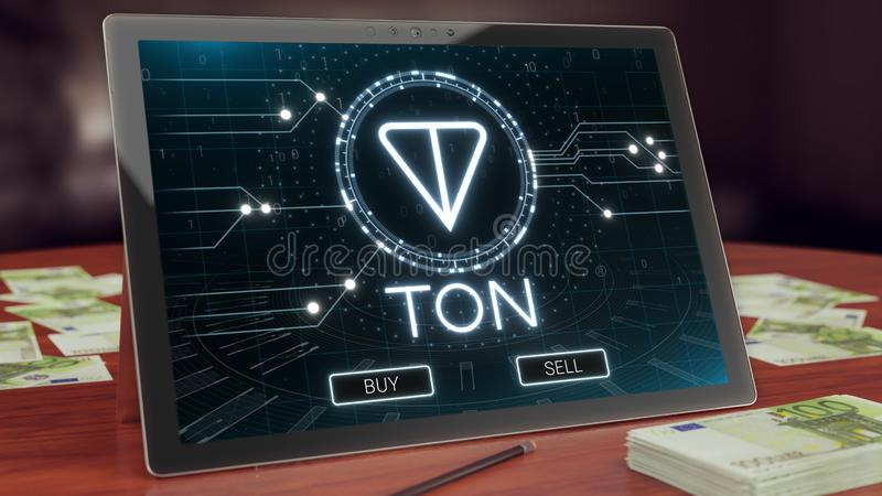 Ton cryptocurrency logo on the pc tablet display. Neon bright blockchain symbol. Ton cryptocurrency logo on the pc tablet display. Neon bright blockchain symbol royalty free illustration