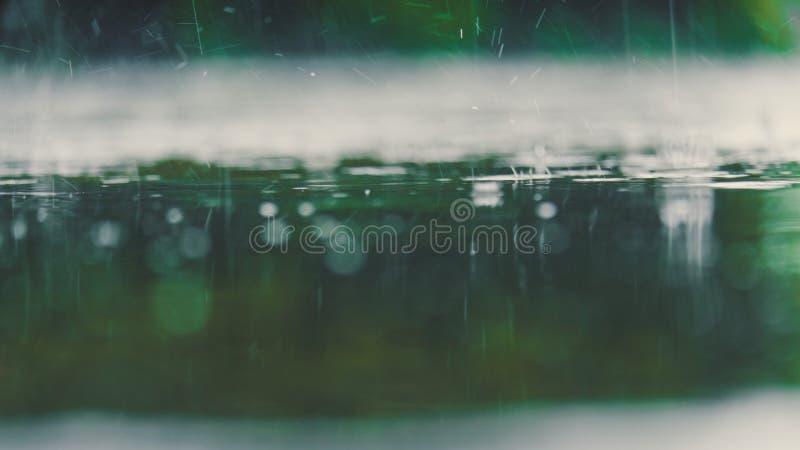 Ton de couleur de cru de fin vers le haut de l'éclaboussure de baisse de l'eau de pluie tombant à images libres de droits