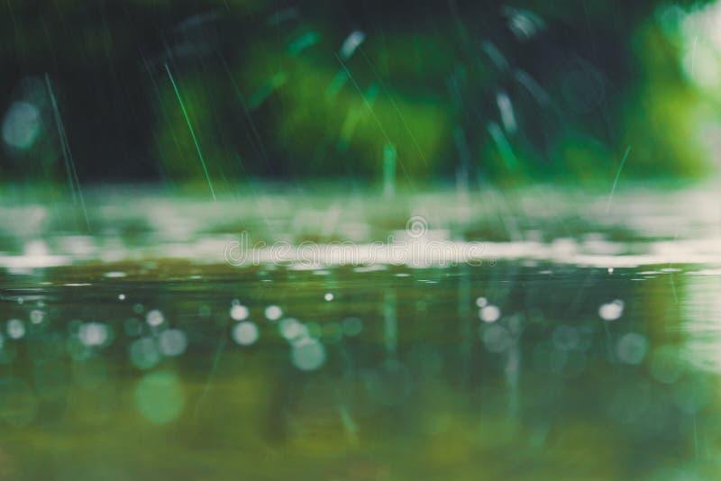 Ton de couleur de cru de fin vers le haut de l'éclaboussure de baisse de l'eau de pluie tombant à photo stock