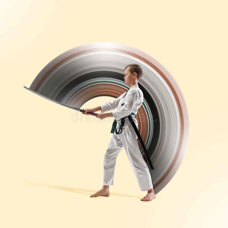 Ton?rig pojkestridighet p? aikidoutbildning i kampsportskola vektor illustrationer