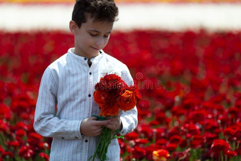 Ton?ringpojke som samlar en bukett av blommor i ?ngen p? en solig v?derdag f?r hans moder arkivfoto