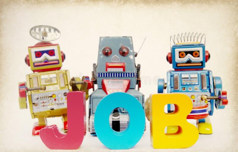 Tonad bild för jobb robotar royaltyfri bild