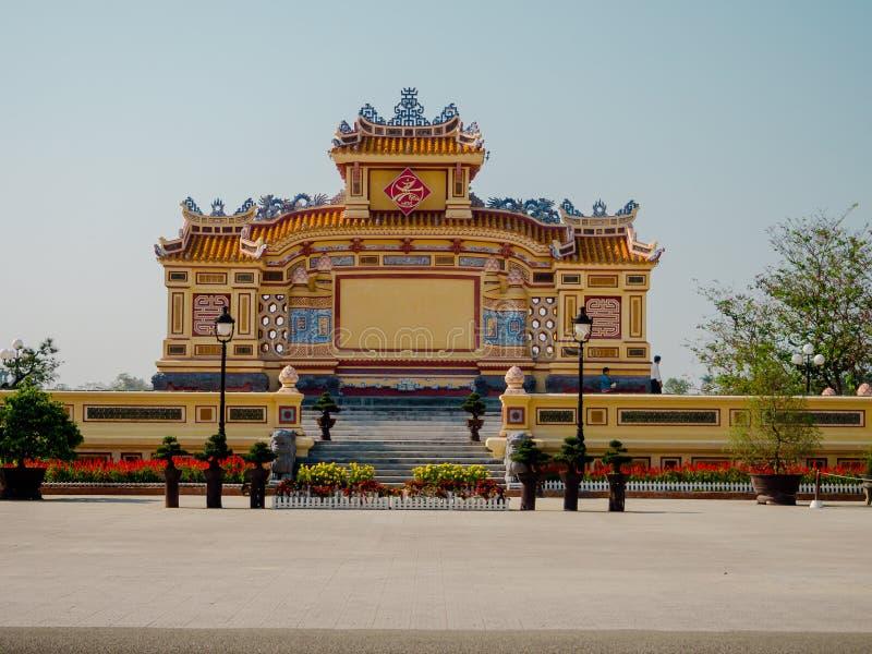 Tonalidad, Vietnam - 13 de septiembre de 2017: Pagoda hermosa de Thien MU del templo Sitio del patrimonio mundial de la UNESCO Lo imagen de archivo libre de regalías