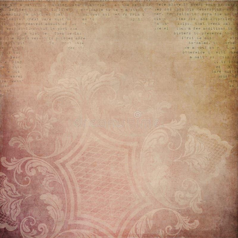 Tonalità del fondo d'annata astratto rosa e d'oro del collage - carta afflitta 12x12 illustrazione vettoriale