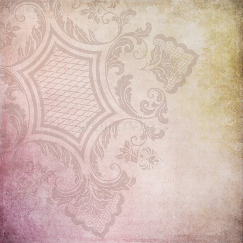 Tonalità del fondo d'annata astratto rosa e d'oro del collage - l'ornamentale ha afflitto 12x12 di carta illustrazione di stock